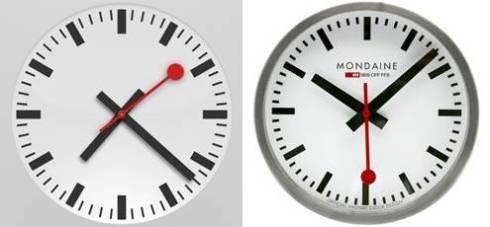ეფლის საათი (მარცხნივ) და შვეიცარიის საათი (მარჯვნივ)
